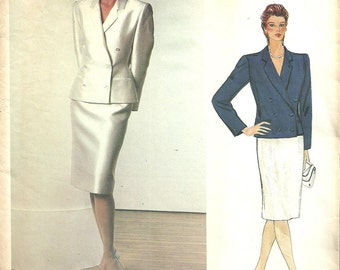 Vogue 1158 / Vintage Designer Sewing Pattern By Bill Blass / Jacket Skirt Suit / Size 8