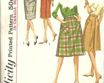 Simplicity 5084 / Vintage 60s Sewing Pattern / Wrap Skirt / Waist 28