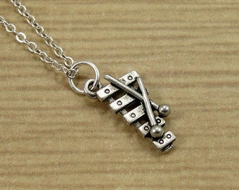 Xylophone Necklace, Silver Xylophone Charm on a Silver Cable Chain