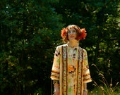 1960s Vintage Maxi Dress... Shaheen Style Painterly Design... Kimono Look
