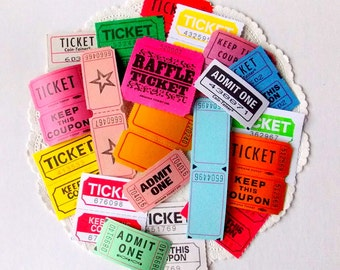 Vintage Raffle Carnival Tickets / Lot of 20 / Assorted / Paper Ephemera / Daily Planner / Junk Journal / Scrapbook
