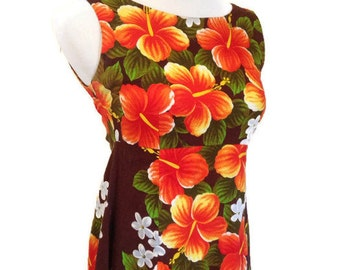 Vintage 60's Hawaiian Dress, Ui-Maikai, Maxi Empire Dress, FLORAL , XS