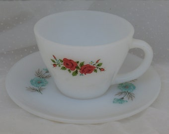 Fire King Mismatch Cup and Saucer, Shabby Sweet Red Roses, Bonnie Blue Flowers