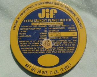 Jif Extra Crunchy Peanut Butter Metal Jar Lid