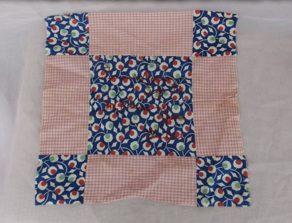Tennie Rogers Vintage Memory Quilt Block Red White and Blue