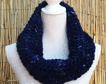 SALE - Hand Knit Scarf in Denim, Super Chunky Infinity Scarf, Hand Knitted Cowl, Super Chunky Wool