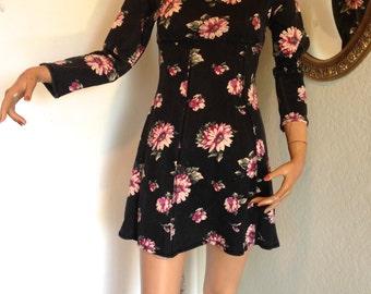 90s Floral Grunge Mini Dress