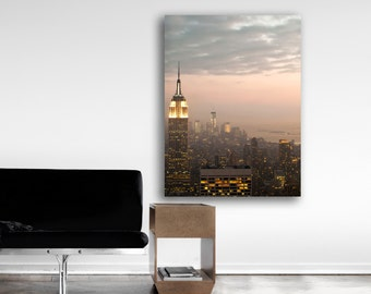 New York Skyline, Large Canvas Wall Art, NYC Skyline, 16x20 Canvas, Pink, Gold, Canvas Print