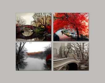 Set of 4 Prints, Fall in Central Park, Neutral, Brown, Red, Rustic, New York Photography, Rustic Wall Decor