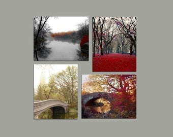 SALE, Central Park, Set of 4 Prints, Red, Brown, Rustic, Fall, Gray, Green, New York Photography, Save 50%