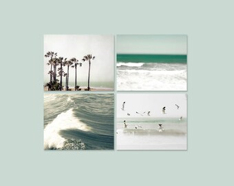 on Sale - Ocean Photography, Set of 4 Prints, Blue Green Beige, Shabby Chic, Beach House, Bathroom Decor