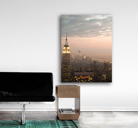 New York Skyline, Large Canvas Wall Art, NYC Skyline, 16x20 Canvas, Pink, Gold, Canvas Print