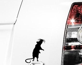 """Standing Rat Vinyl Decal / Rat Laptop Sticker / Rat Car Decal / Standing Rat Window Sticker /4""""h x 3""""w / #594"""