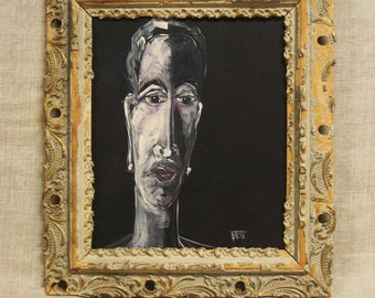 Female Portraiture Art, Portrait Painting, Female Figure, Wil Shepherd Studio, Original Fine Art, Framed, Antique Frame, Hand Painted, Face