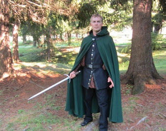 Wool Cloak - Hooded Cloak - Long Cloak - Elven Cloak - Spruce Green Cloak - Cloak with Hood - Cloaks and Capes