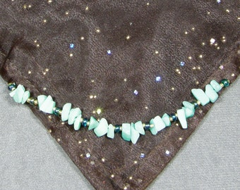 50% OFF Sale - 21 Inch Brown Sparkle Organza & Brown Moleskin Altar Cloth, with Amazonite, AC435