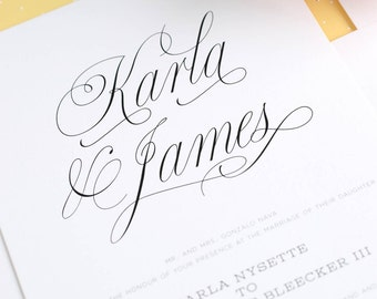 Yellow Wedding Invitation - Wedding Invitations - Garden Wedding, Polka Dots, Chic, Calligraphy - Garden Script Design