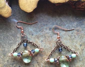 Trapeze earrings, statement earrings, chandelier earrings, lightweight, blue and green, dangle earrings, bohemian, copper chain earrings,
