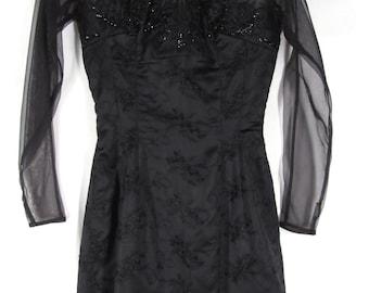 50s Little Black Dress XXS Net Jacquard BEADED FLAME Bodice As Is