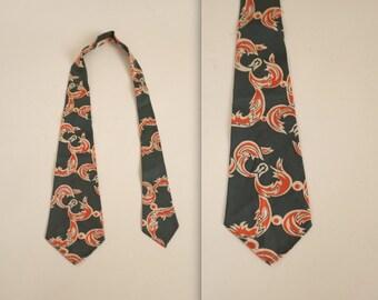 1930s abstract print necktie • vintage 30s tie • green tie