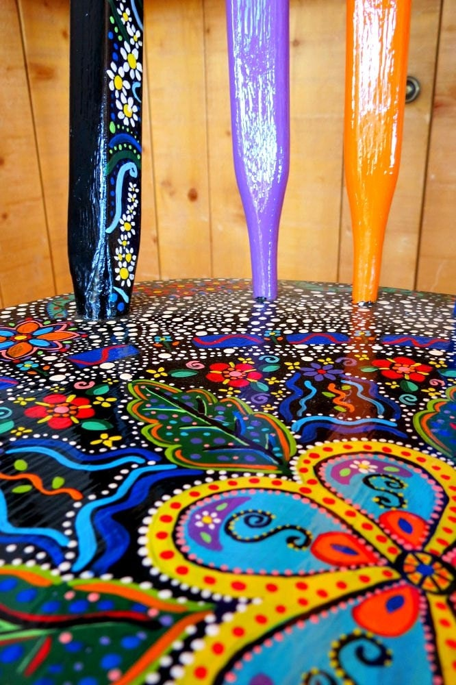 Funky Hand Painted Bar Stool Furniture Dot Art