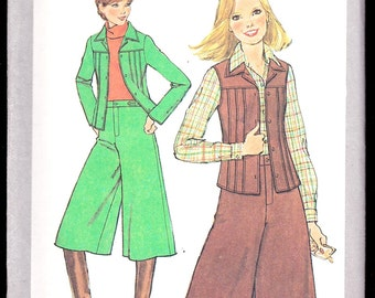Simplicity 8202 Misses' Juniors' Gauchos and Unlined Jacket or Vest