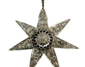 Star Diamond Pendant Brooch - Silver yellow gold star shaped pendant antique diamonds Victorian c1870