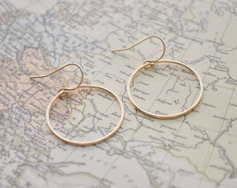 Gold Circle Earrings - gold filled large hoop open circle french hook modern minimal jewelry - simple everyday jewelry - adenandclaire