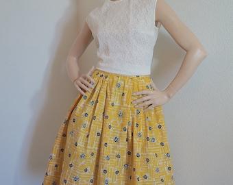 Vintage 1950s 1960s Skirt / 50s 60s Novelty Print High Waist Full Skirt / 1950s 1960s Mid Century Atomic Print Skirt