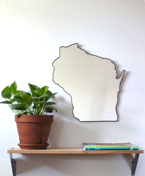 Wisconsin Mirror / Wall Mirror State Outline Silhouette Shape Wall Art WI