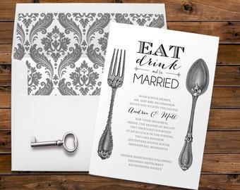 Vintage Silverware, Wedding, Rehearsal Dinner, Party Invitation, Formal Dinner, Eat Drink, Be Married, Printable Digital, Printed Invites