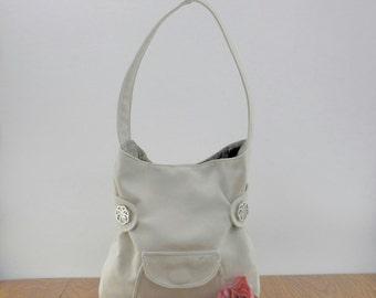 White Purse, White Bag, White Handbag, White Bucket Bag, Shoulder Bag, Women's Handbag