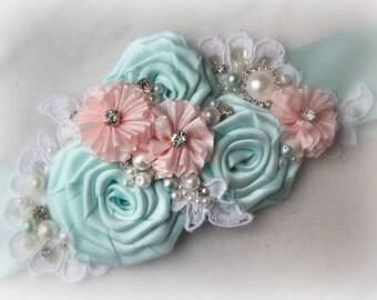 Aqua and Pink Sash, Pale Aqua Bridal Sash, Blush Pink Wedding Belt with Rhinestones, Pearls, Robbins Egg Blue - COTTON CANDY