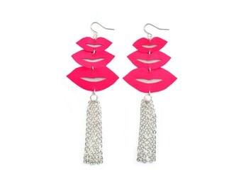 Hot Pink Lips Earrings, Silver Tassel Earrings, Leather Earrings, Lips Statement Earrings, Tassel Jewelry, Kisses Earrings, Lips Jewelry