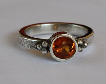 Hand Forged 1.15 ct Natural Orange Sapphire Granulated Bead Argentium Sterling Silver Ring SZ 6.5