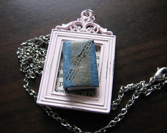 Miniature book necklace | frame pendant | journey necklace