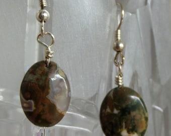 Green mossy agate earrings
