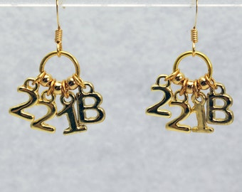 221B Sherlock Earrings in Gold - Sherlock Holmes Earrings for Sherlock Fangirl. Sherlockian Gift.