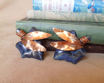 Vintage 60's Earrings, Blue Leaf with Copper Leaves, Clip on Earrings, Mid Century, Rockabilly, 50's Style