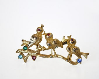 Vintage Birds on a Branch Brooch