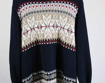 Mens Ski Sweater. Snowflake Pattern Sweater. Fall Winter Sweater. Mens Size Large. Vintage. GOGOVINTAGE. FREE SHIPPING