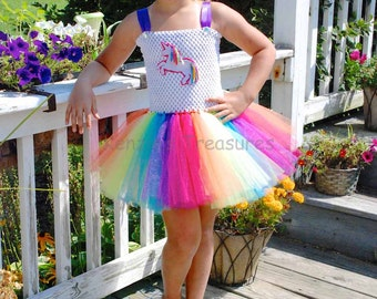 Rainbow Unicorn Tutu Dress with Rainbow Unicorn Appliqué ~ Size 2T to Size 6