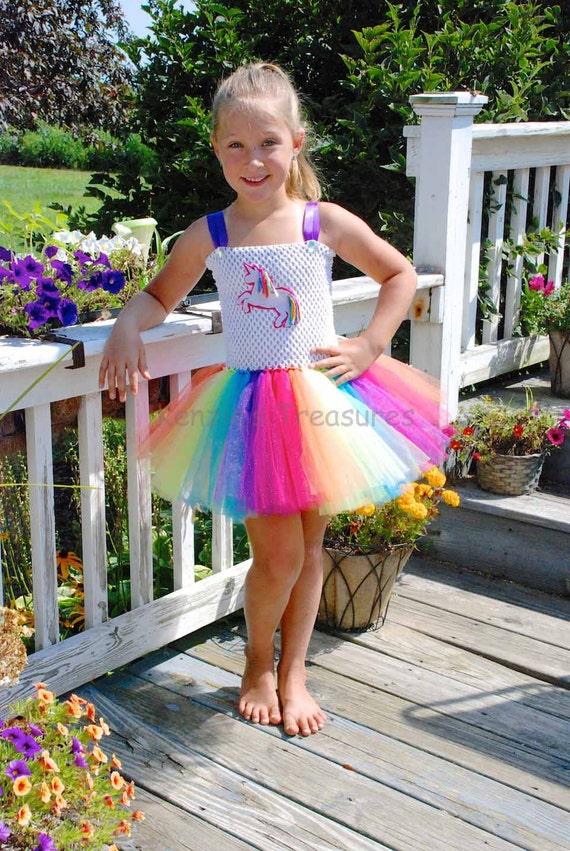 rainbow unicorn tutu dress with rainbow unicorn appliqué