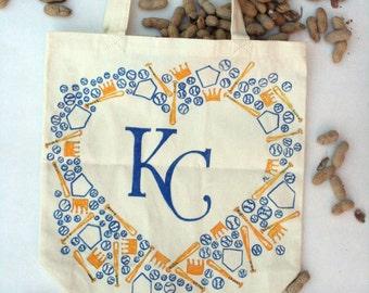 KC Royals Canvas Totebag, Hand drawn, KC Royals Fan, Kansas City, baseball