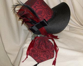 Red and Black Stovepipe Bonnet and Reticule- Regency, Georgian, Jane Austen Era Bonnet and Purse