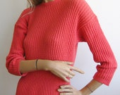 Vintage 40s 50s Coral Pink Sweater Knit Curvy Sweater Girl Dress
