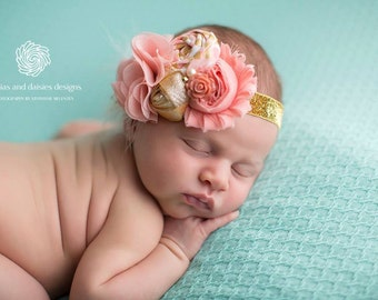 Queen For A Day- gold and coral peach rosette and chiffon flower headband