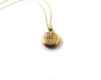 SALE-Antique Locket With H monogram c.1900