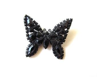 Vintage Weiss Black Diamond Butterfly Brooch c.1950s
