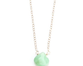 Chrysoprase Necklace- Teardrop Stone on Gold Filled Chain - NG31